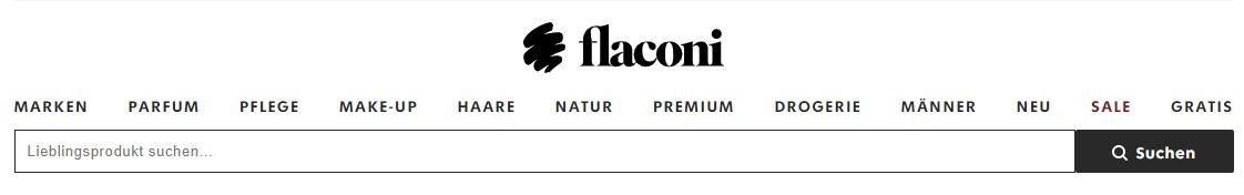 Die Startseite von Flaconi