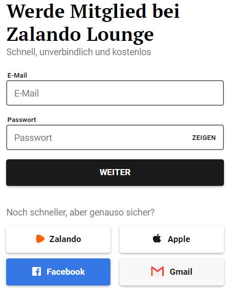 Die Anmeldung zum Zalando-Lounge Mitglied